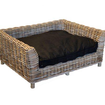 Medium Raised Rectangular Grey Wicker Dog Basket with Cushion