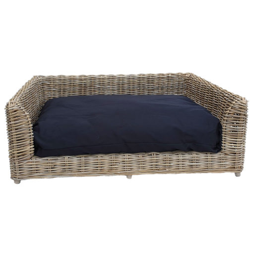 Large Raised Rectangular Grey Rattan Dog Basket with Cushion