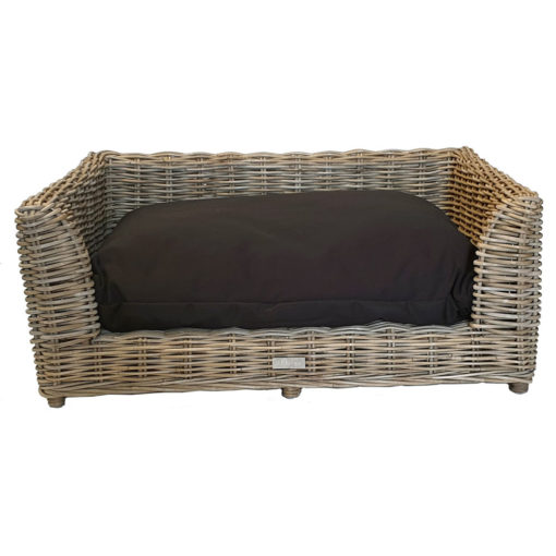 Medium Raised Rectangular Grey Rattan Dog Basket with Cushion