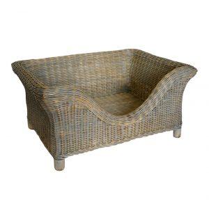 Medium Luxury Raised Grey Rattan Dog Basket