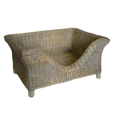 Medium Luxury Raised Grey Rattan Dog Basket