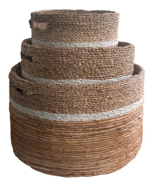 Round Mixed Weave Storage Baskets in 3 sizes
