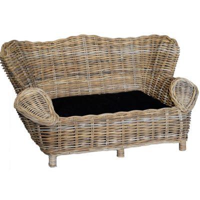 Small Grey Wicker Pet Sofa