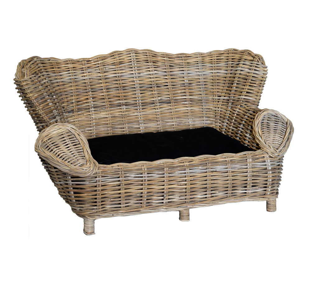 Wicker Pet Sofa Basket With Cushion Available In 2 Sizes