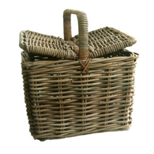 Grey Rattan Picnic Basket with Double Lid