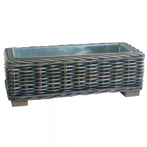 Rectangular Rattan Planter with Metal Insert