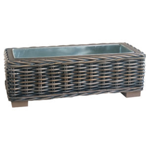 Oblong Rattan Planter with Metal Insert