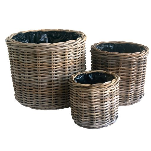 Set of 3 Round Grey Rattan Planters with Plastic Liners