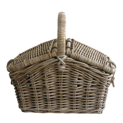 Grey Wicker Picnic Basket with Double Lid and Handle
