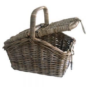 Grey Wicker Picnic Basket