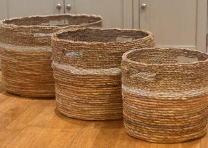 Round Mixed Weave Storage Baskets