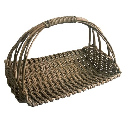 Grey Wicker Flower Picking Basket or Trug