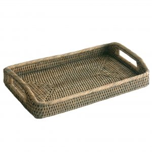 Small Oblong Grey Rattan Serving Tray