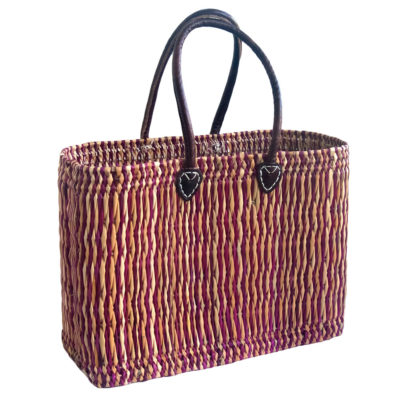 Two-Tone Oblong French Market Basket in Pink