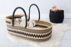 Black Patterned Moses Basket lifestyle