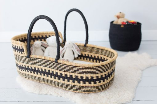 Black Patterned Moses Basket lifestyle