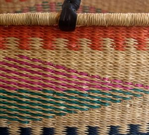 Coloured Diamond Patterned Hand Woven Moses Basket detail