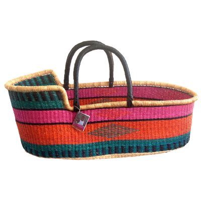 Pink Orange Turquoise Moses Basket