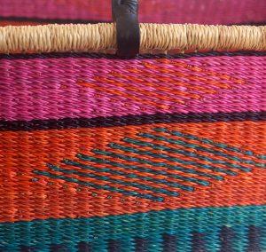 Pink Orange Turquoise Moses Basket detail