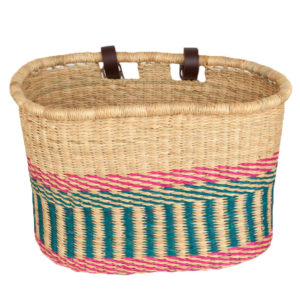 Oval Pink and Turquoise Bike Basket