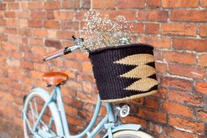 Oval Black Diamond Pattern Bike Basket lifestyle
