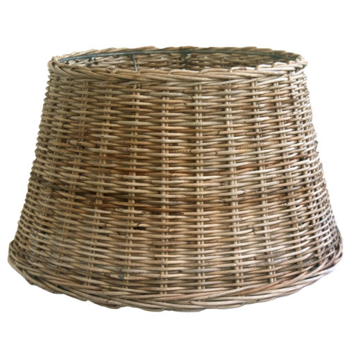 Large Round Grey Wicker Table or Floor Lampshade