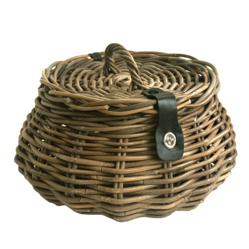 Round Shaped Grey Wicker Sewing Basket