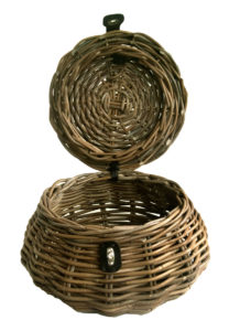 Round Shaped Grey Wicker Sewing Basket open