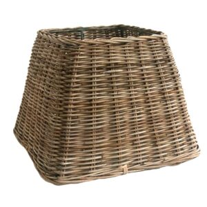 Small Square Grey Wicker Table or Floor Lampshade