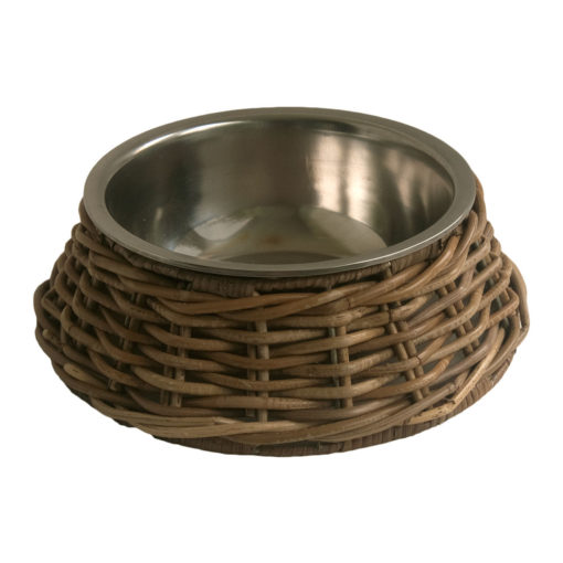 Stainless Steel Pet Bowl with Grey Wicker Holder