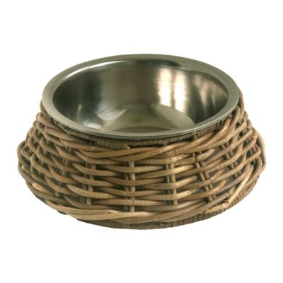 Stainless Steel Pet Bowl with Wicker Holder