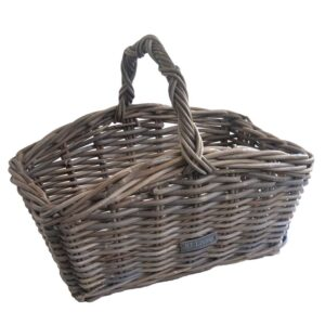 Grey Oblong Trug or Display Basket with handle detail