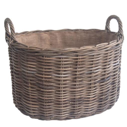 Oval Grey Rattan Log Basket with Jute Lining in 2 Sizes