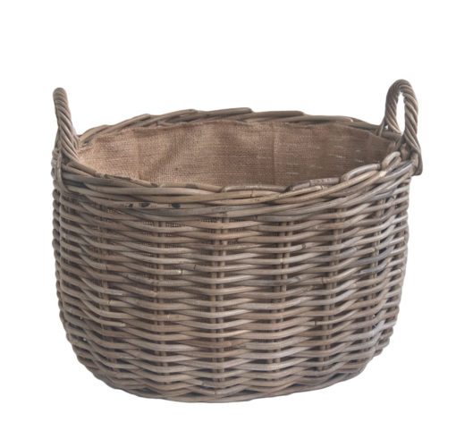 Small Grey Oval Log Basket with Jute Lining