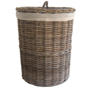 Round Grey Lined Rattan Laundry Basket