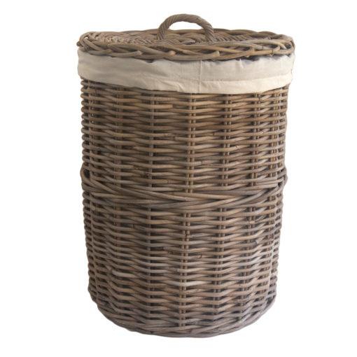 Small Round Grey Wicker Laundry Basket