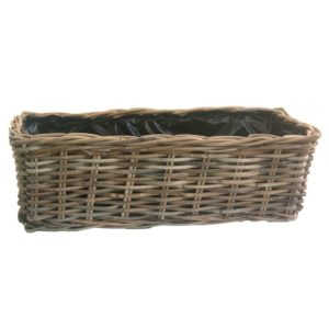 Large Grey Rattan Window Box Planter