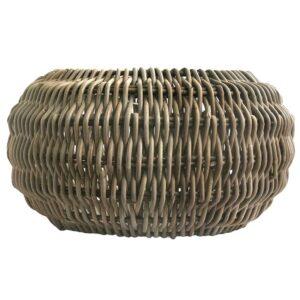 Large Round Grey Retro Pendant Lampshade in Natural Rattan