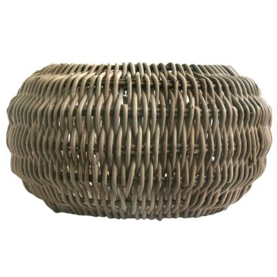 Large Round Grey Retro Pendant Lampshade in Natural Rattan