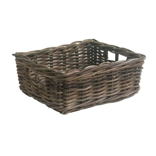 Extra Small Grey Oblong Rattan Storage Basket