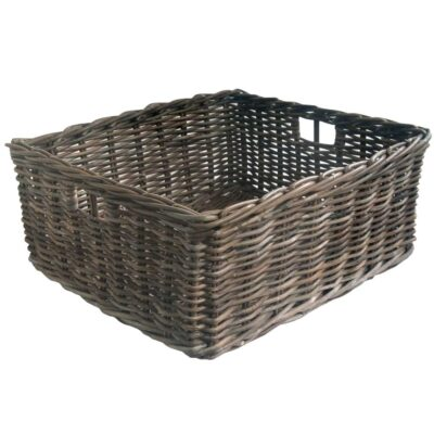 Grey Oblong Rattan Storage Basket in 4 Sizes