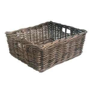 Small Grey Oblong Rattan Storage Basket in 4 sizes