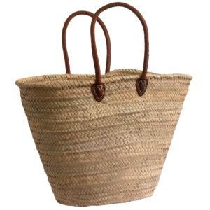 Half Shoulder Leather Handled French Market Shopping Basket