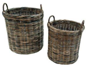 Set of 2 Round Grey Log Baskets
