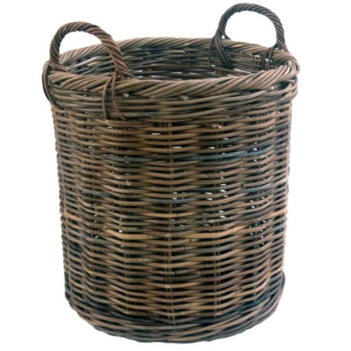 Large Round Grey Log Basket with Handles