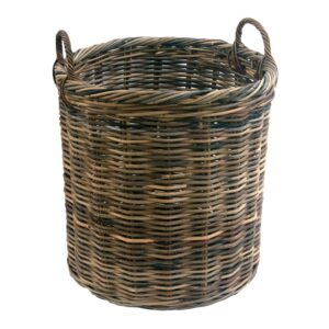 Small Round Grey Log Basket with Handles