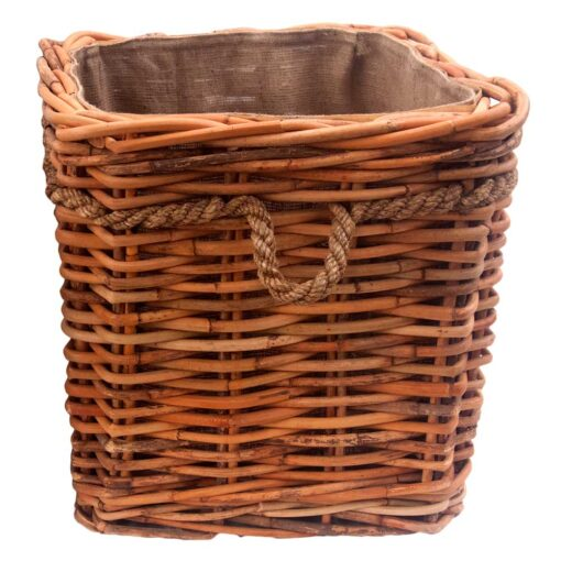 Large Square Chunky Lined Log Basket with Wheels