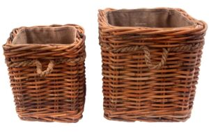 Set of 2 Square Chunky Rattan Log Baskets with Wheels