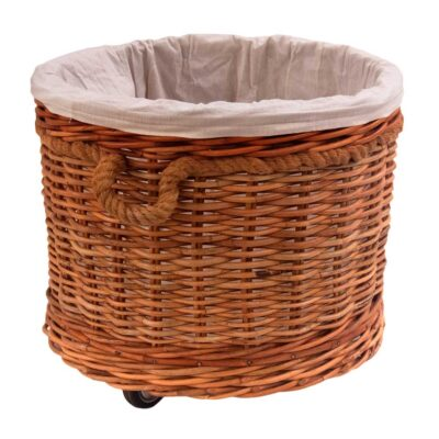 Lined Round Log Basket with Wheels and Rope Handles