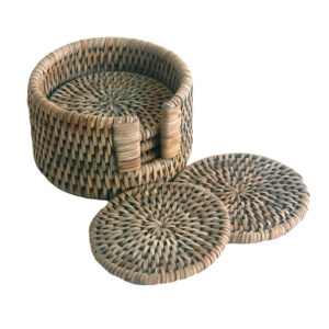 Set 6 Round Grey Woven Rattan Coasters with Case